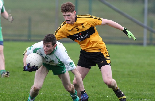 Conor Morrison of St Eunan's in action against Aodh Ruadh