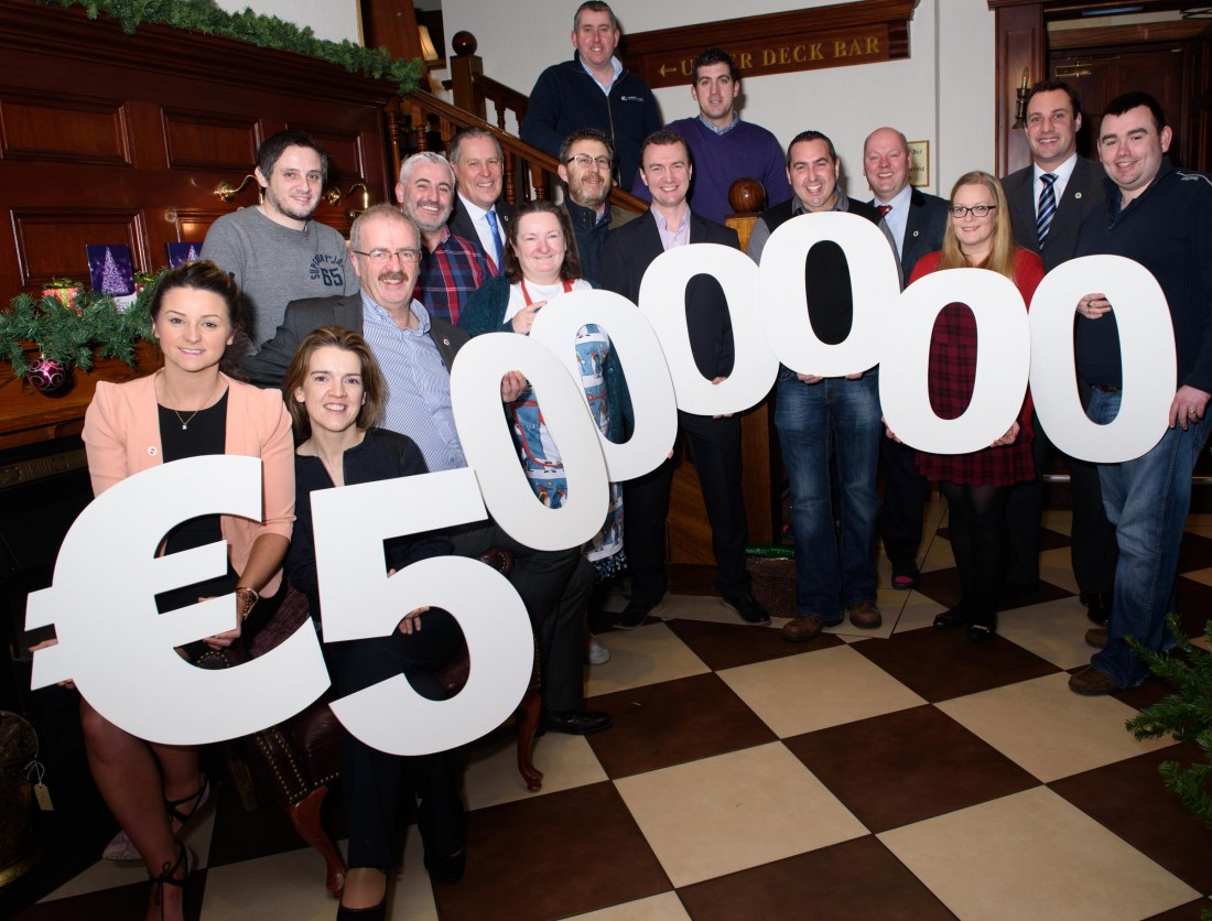 members of the BNI Donegal Town Stronghold who have reached the €5,000,000 milestone int business passed through the network.    Photo Clive Wasson