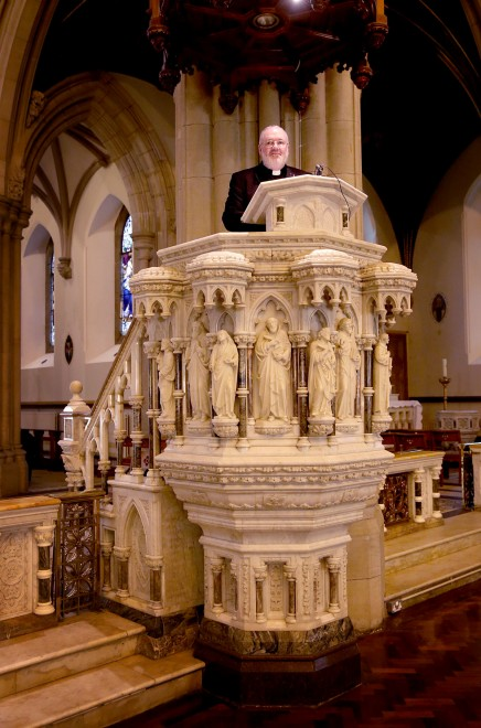 Fr Eamonn Kelly in the pulpit of St. Eunan's Cathedral.