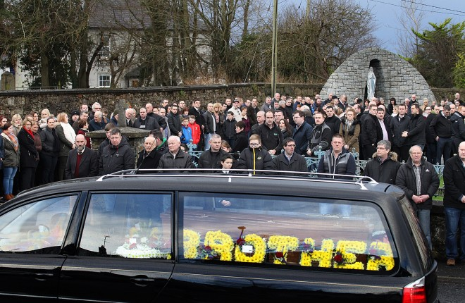 The remains of the late Declan Holian arrive at St. Mary's Church, Ramelton this morning (Thursday).