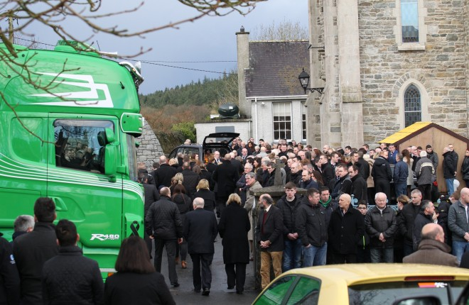Mourners at St. Mary's Church, Ramelton for the funeral of Declan Holian.