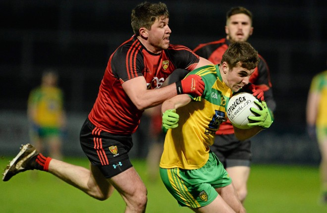 30 January 2016; Michael Carroll, Donegal, in action against Peter Turley, Down. Allianz League, Division 1, Round 1, Down v Donegal, Páirc Esler, Newry, Co. Down. Picture credit: Oliver McVeigh / SPORTSFILE