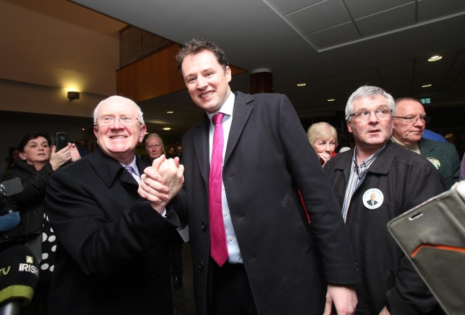 Fianna Fail success celebrated in the Donegal Count Centre in Letterkenny for Pat the Cope Gallagher and Charlie McConalogue. Photo: Donna El Assaad