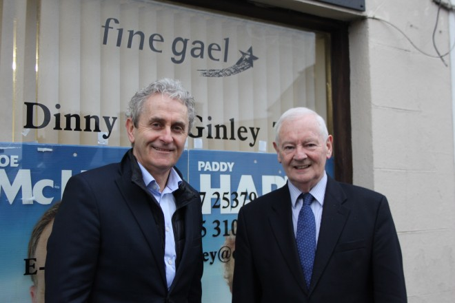 Outgoing Fine Gael Deputy Dinny McGinley with candidate Paddy Harte