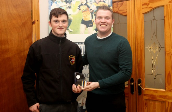 Niall O'Donnell, St Eunans' Minor player is presented with the December - Donegal News Sports Personality Award by Sports Reporter Ryan Ferry.