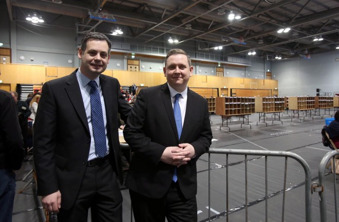 Sinn Fein's Pearse Doherty and Gary Doherty in the Count Centre, Letterkenny. Photo: Donna El Assaad
