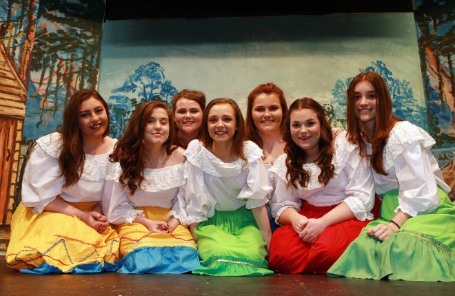 Member of the chorus pictured on stage in rehearsal for the forthcoming Pantomime Humpty Dumpty in Ramelton, included are Reina Bolton, Catherine Mc Fadden, Erica Duffy, Annie Mills, Fiona Boyce,  Louise Duffy and Eva Huarte. Photo Brian McDaid