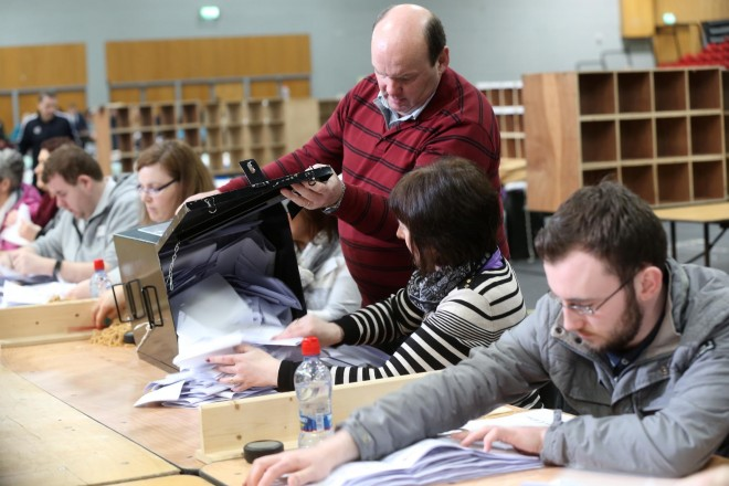 Ballot Box being emptied in the Aura, Letterkenny Count Centre on Saturday morning. Photo: Donna El Assaad