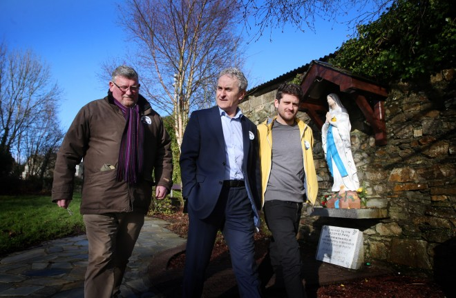 Fine Gael candidate Paddy Harte with son Neil and Paddy Gildea during a canvass of Letterkenny this week.