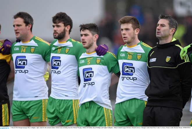Donegal manager Rory Gallagher, right, stands for the national anthem with his team, including from left, Michael Murphy, Odhrán McNiallais, Ryan McHugh, and Eoghan Gallagher.. Allianz Football League, Division 1, Round 4, Kerry v Donegal. Austin Stack Park, Tralee, Co. Kerry. Picture credit: Brendan Moran / SPORTSFILE