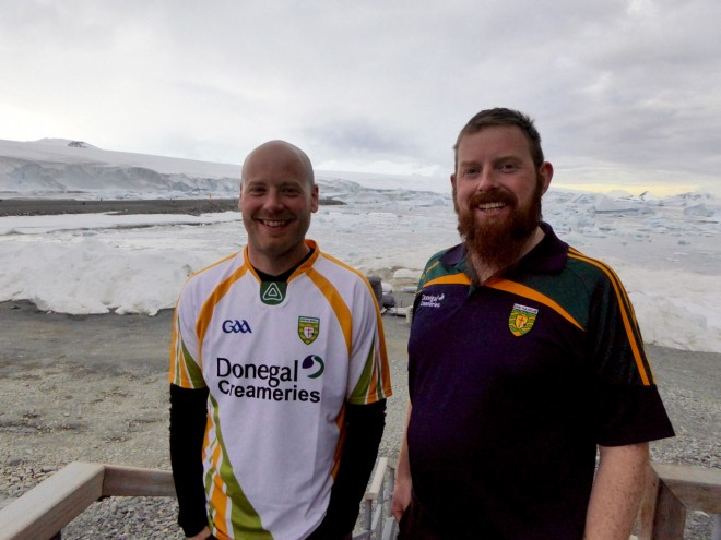 Donegal men John Paul Gallagher and Danny McFadden catch up in Antarctica