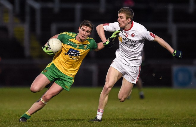 30 March 2016; Ciaran Thompson, Donegal, in action against Ben O'Donnell, Tyrone. EirGrid Ulster GAA Football U21 Championship, Semi-Final, Tyrone v Donegal, Celtic Park, Derry. Picture credit: Oliver McVeigh / SPORTSFILE