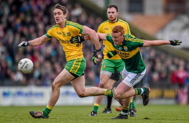 Johnny Buckley, Kerry, in action against Hugh McFadden, Donegal in last year's league meeting. Picture credit: David Maher / SPORTSFILE