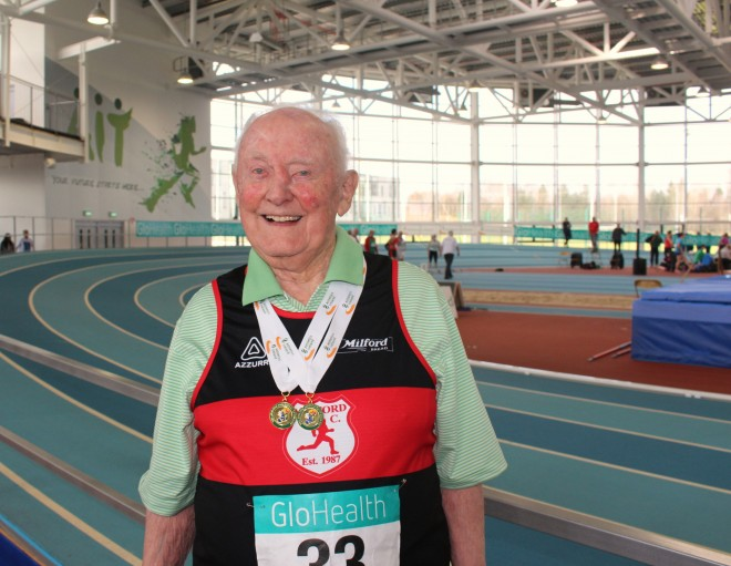 Hugh Gallagher proudly shows off his latest All-Ireland medals.