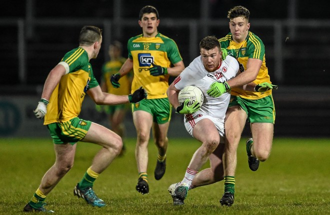 30 March 2016; Ruairi McGlone, Tyrone, in action against Eamon McGrath and Ciaran Gillespie, right, Donegal. EirGrid Ulster GAA Football U21 Championship, Semi-Final, Tyrone v Donegal, Celtic Park, Derry. Picture credit: Oliver McVeigh / SPORTSFILE