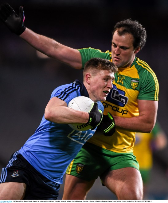 James Small, Dublin, in action against Michael Murphy, Donegal. Allianz Football League, Division 1, Round 6, Dublin v Donegal, Croke Park, Dublin. Picture credit: Ray McManus / SPORTSFILE