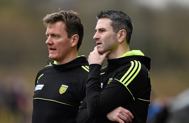 13 March 2016; Donegal manager Rory Gallagher, right, with selector Jack Cooney. Allianz Football League, Division 1, Round 5, Donegal v Roscommon. O'Donnell Park, Letterkenny, Co. Donegal. Picture credit: Oliver McVeigh / SPORTSFILE
