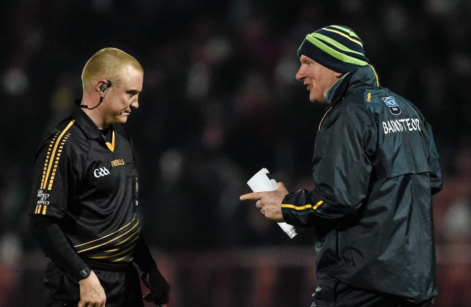 30 March 2016; Donegal manager Declan Bonner with referee Barry Cassidy after the final whistle. EirGrid Ulster GAA Football U21 Championship, Semi-Final, Tyrone v Donegal, Celtic Park, Derry. Picture credit: Oliver McVeigh / SPORTSFILE