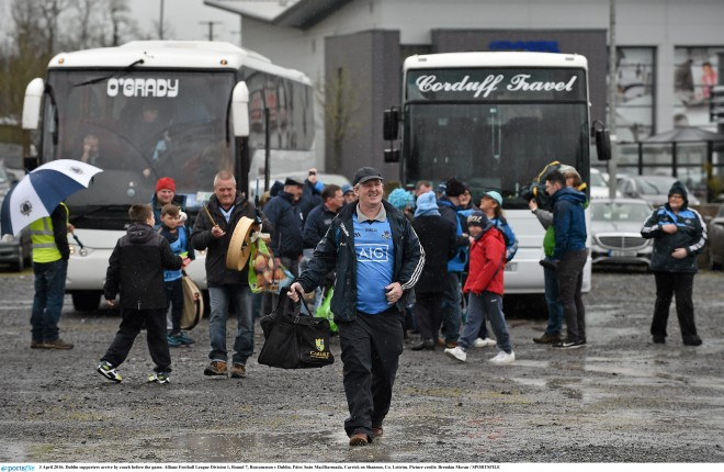 3 April 2016; Dublin supporters arrive by coach before the game. Allianz Football League Division 1, Round 7, Roscommon v Dublin. Páirc Seán MacDiarmada, Carrick on Shannon, Co. Leitrim. Picture credit: Brendan Moran / SPORTSFILE