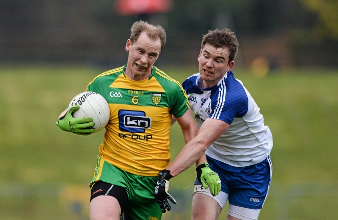 3 April 2016; Anthony Thompson, Donegal, in action against Dessie Mone, Monaghan. Allianz Football League Division 1, Round 7, Monaghan v Donegal. St Mary's Park, Castleblayney, Co. Monaghan. Picture credit: Dáire Brennan / SPORTSFILE