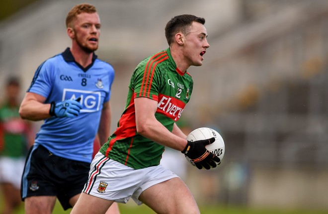 16 April 2016; Diarmuid O'Connor, Mayo, in action against Andy Foley, Dublin. Eirgrid GAA Football Under 21 All-Ireland Championship semi-final, Dublin v Mayo. O'Connor Park, Tullamore, Co. Offaly.  Picture credit: Brendan Moran / SPORTSFILE