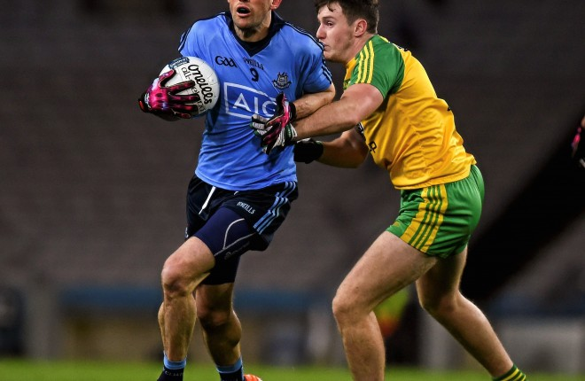 26 March 2016; Denis Bastic, Dublin, in action against Kieran Gillespie, Donegal. Allianz Football League, Division 1, Round 6, Dublin v Donegal, Croke Park, Dublin. Picture credit: Ray McManus / SPORTSFILE