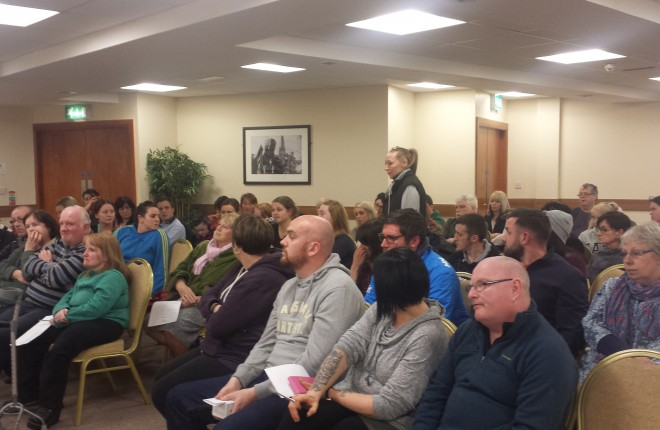 Pictured are a section  of those who attended an animal welfare public meeting in the Station House Hotel, Letterkenny, on Tuesday night, putting their questions and suggestions to Gary Cooney and Michael Forde.