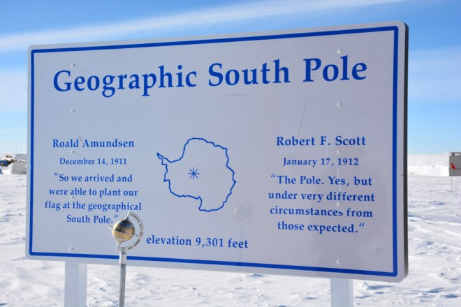 Geographic south pole plaque.