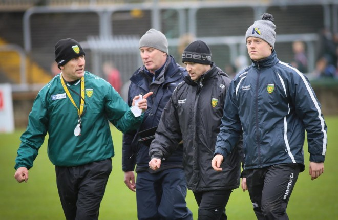Donegal Minor Manager Shaun Paul Barrett , with members of his management team, Noel Keaveny, Darran Nash, and Luke Barrett. Photo Brian McDaid