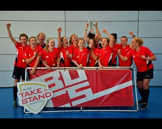 Niamh McLaughlin and her Northumbria University teammates celebrate last week's triumph