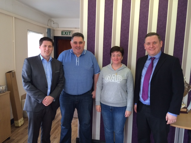 Pictured are Matt Carthy (MEP), Stephen Kennedy (CPI), Sylvia McGlinchey (CPI) and Cllr Gary Doherty.
