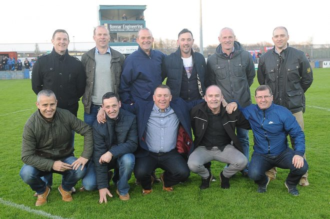 The Finn Harps promotion winning side of 1995/96. Back Row Right to left: Paul Hall, Paddy McGrenaghan, John Quigg, Brendan Devenney, Paul Hegarty, Darran Nash. Front row Right to left: Noel Melvin, Ollie Reid, Alan Doherty, Trevor Scanlon, Pierce Walsh.  Gerard McHugh Photography.