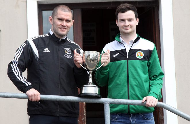 Letterkenny Rovers' Darren McElwaine and Peter Doherty, Cockhill Celtic with the Donegal News League Cup. The final will be contested between the twp teams in Bonagee on Sunday evening.