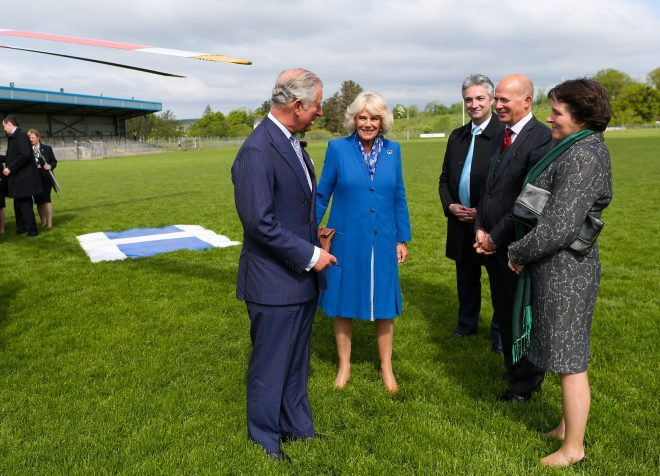 25/05/2016 NO REPRO FEE, MAXWELLS DUBLIN, IRELAND Visit to Ireland by The Prince of Wales and the Duchess of Cornwall. Donegal, Ireland. Pic Shows: HRH The Prince of Wales with  the Duchess of Cornwall being greeted by (l to r) Mr. Gerald Angley: Director British Irish Relations at the Department of Foreign Affairs, H.E. Mr. Dominick Chilcott, British Ambassador to Ireland and his wife; Ms. Jane Chilcott as he arrives by helicopter to Donegal. PIC: NO FEE, MAXWELLPHOTOGRAPHY.IE