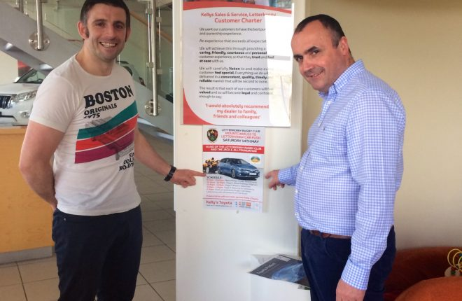 Terence Gallagher, Captain of Letterkenny Rugby's 1st's teams and Brendan Kelly, Kelly's Toyota, main sponsor of Letterkenny Rugby Club.