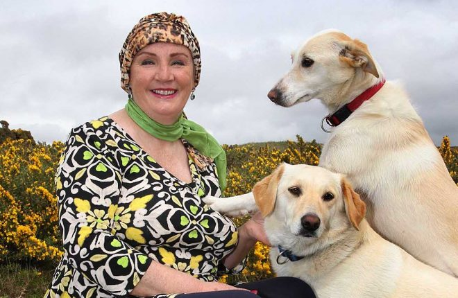 Theresa Harkin with her dogs Frankie and Tess. Picture: Declan Doherty