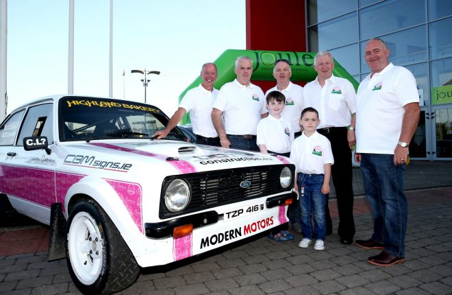 Letterkenny's legendary driver James Cullen (second from right) with members of the 'Cullen 4 Donegal' team at the launch of the Joule Donegal International Rally at the Aura Leisure Centre on Friday evening. Picture: Declan Doherty