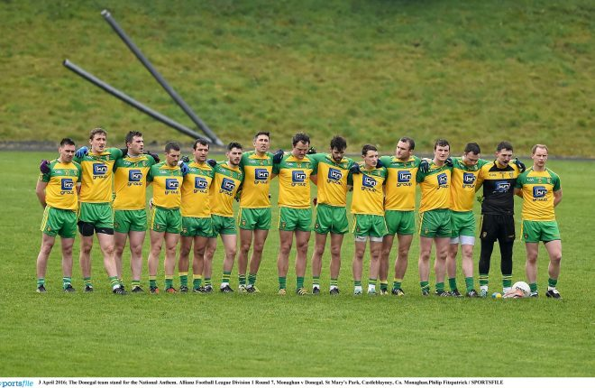 The Donegal team before their league match with Monaghan. Photo: Philip Fitzpatrick / SPORTSFILE
