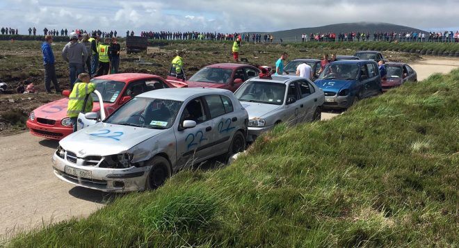 Some of the competing cars getting ready for the off at the Gweedore stock car event on Sunday.