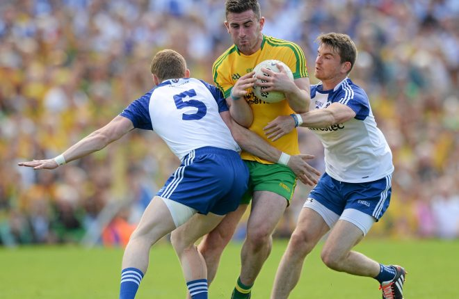 19 July 2015; Patrick McBrearty, Donegal, in action against Cloin Walshe and Dessie Mone, Monaghan. Ulster GAA Football Senior Championship Final, Donegal v Monaghan, St Tiernach's Park, Clones, Co. Monaghan. Picture credit: Oliver McVeigh / SPORTSFILE