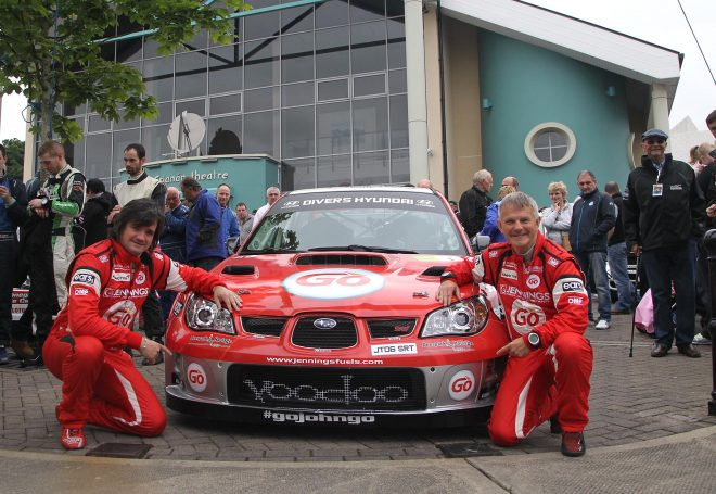 Defending champions Garry Jennings and Rory Kennedy ready to set off for the 2016 Joule Donegal International Rally. Photo: Donna El Assaad