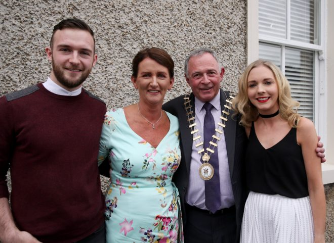 Cllr. Terence Slowey who was elected Cathaoirleach of Donegal County Council with his wife Patricia, son Kelvin and daughter Jennifer.