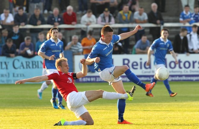 Ryan Curran, Finn Harps wins the ball against Sligo Rovers captain Craig Rodden. Photographs by Donna El Assaad