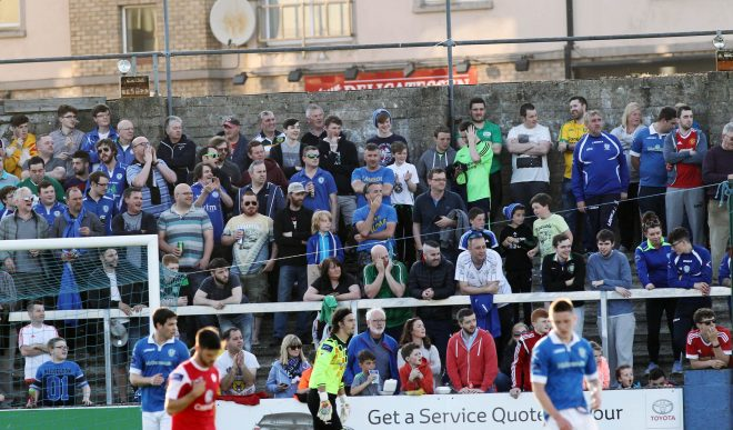Some of the large number of supporters in attendance at Finn Park last season.