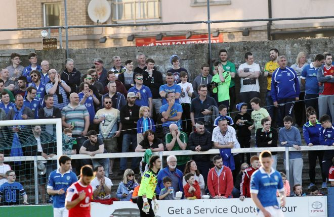 Some of the large number of supporters in attendance at Finn Park for the match against Sligo Rovers.