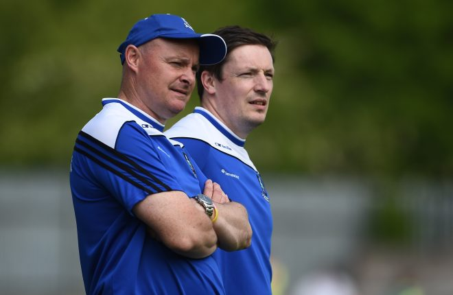 5 June 2016; Monaghan manager Malachy O'Rourke, left, along with Ryan Porter, selector in the Ulster GAA Football Senior Championship Quarter-Final between Monaghan v Down in St Tiernach's Park, Clones, Co. Monaghan. Photo by Oliver McVeigh/Sportsfile