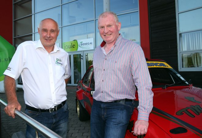 Eamonn McGee and brian Brogan at the launch of this year's Joule Donegal International Rally.