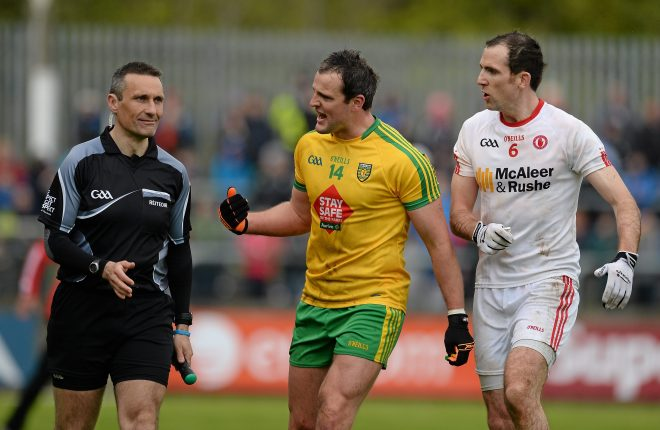 17 May 2015; Michael Murphy, Donegal speaks to standby referee Maurice Deegan about a second half incident as Justin McMahon, Tyrone watches. Ulster GAA Football Senior Championship, Preliminary Round, Donegal v Tyrone. MacCumhaill Park, Ballybofey, Co. Donegal. Picture credit: Oliver McVeigh / SPORTSFILE