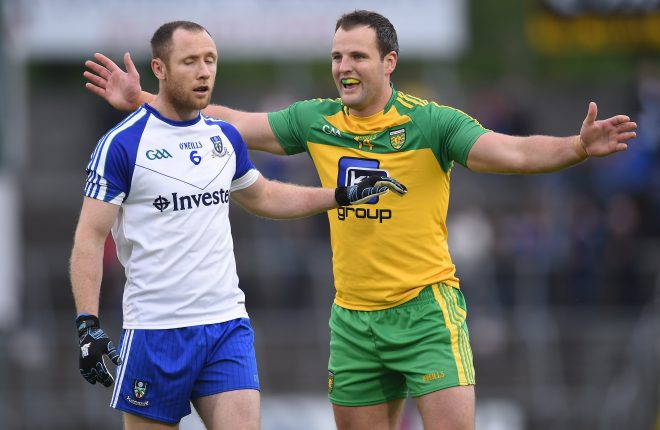 25 June 2016; Michael Murphy of Donegal in action against Vinny Corey of Monaghan during the Ulster GAA Football Senior Championship Semi-Final game between Donegal and Monaghan at Kingspan Breffni Park in Cavan. Photo by Ramsey Cardy/Sportsfile