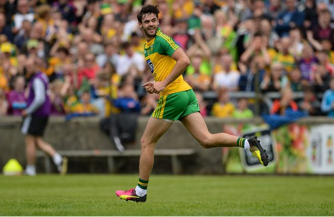 12 June 2016; Odhran MacNiallais of Donegal celebrates after scoring his side's second goal during their Ulster GAA Football Senior Championship Quarter-Final match between Fermanagh and Donegal at MacCumhaill Park in Ballybofey, Co. Donegal. Photo by Oliver McVeigh/Sportsfile
